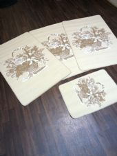 ROMANY GYPSY WASHABLES  SET OF 4 MATS/RUGS CREAM/BEIGES NON SLIP BASKET DESIGNS
